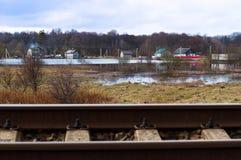 Järnväg järnväg, trans., station, spår, kulle Arkivfoto