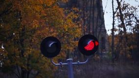 Järnväg korsning röd trafikyellow för klartecken arkivfilmer