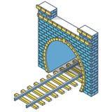 Järnväg låg-poly tunnel för vektor, isometriskt perspektiv 3d Skisserad gammal stenbyggnad vektor illustrationer