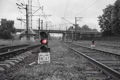 Järnväg linje med dess beståndsdelar, begrepp, Ukraina Arkivfoton