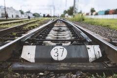 Järnväg linje med dess beståndsdelar, Ukraina Fotografering för Bildbyråer