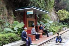 järnväg liten station Royaltyfria Bilder