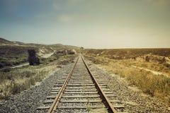 Järnväg med den ljusa läckan Arkivbild