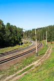 Järnväg med en vänd Royaltyfri Fotografi