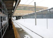 Järnväg med snö Royaltyfria Foton