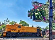 Järnväg motor för tappning på Snoqualmie, Washington arkivbilder