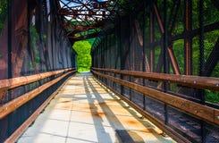 Järnväg och fot- bro på den Lehigh klyftadelstatsparken, Penns Arkivfoton