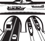 Järnväg- och huvudvägtunnel under vatten vektor illustrationer