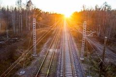 Järnväg på aftonen Royaltyfri Bild