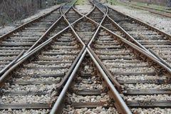 Järnväg på station Royaltyfria Foton