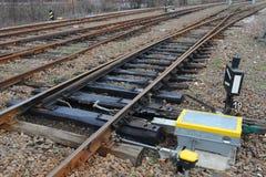 Järnväg på station Royaltyfri Foto