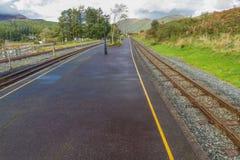 Järnväg plattform på Rhyd Ddu Arkivbilder