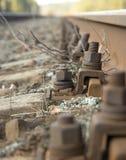 järnväg s spår för bult Royaltyfria Foton