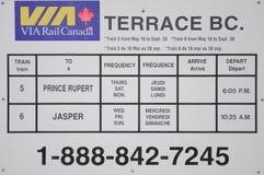 Järnväg schema av VIA stången Kanada Arkivfoton