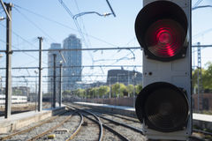 Järnväg semafor Fotografering för Bildbyråer
