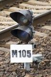 Järnväg semafor Arkivbild