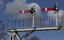 Järnväg signaler Arkivfoto