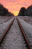 järnväg skymning Royaltyfria Bilder