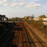 Järnväg sol Arkivfoto