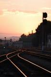 järnväg solnedgång Arkivfoto