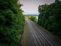 Järnväg som går till och med skogen till kullarna och himlen royaltyfri foto