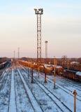 järnväg stationsvinter Royaltyfria Bilder