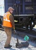 Järnväg strömbrytareoperatör Arkivfoto