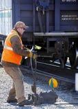 Järnväg strömbrytareoperatör Fotografering för Bildbyråer