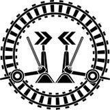 Järnväg strömbrytarepilar Arkivfoto