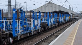 Järnväg teknik i blått Fotografering för Bildbyråer