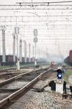Järnväg trafikljus Arkivfoton