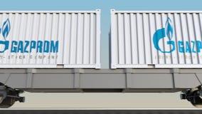 Järnväg trans. av behållare med den Gazprom logoen Redaktörs- 3D som framför gemet 4K arkivfilmer