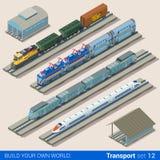 Järnväg transport för plan isometrisk för drevbussgarage för vektor 3d järnväg royaltyfri illustrationer