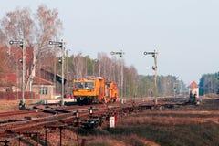 järnväg tunga maskiner för arbetsuppgift Royaltyfri Fotografi