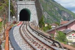 Järnväg tunnel för berg Vernayaz Martigny, Schweiz Arkivbilder