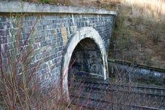 Järnväg tunnel på dubbelt spår Järnväg infrastruktur Gammalt stena tunnelen som målas med graffity arkivfoto