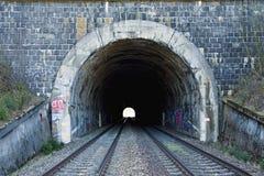 Järnväg tunnel på dubbelt spår Järnväg infrastruktur Ljus på slutet av tunnelen Gammalt stena tunnelen som målas med graffity fotografering för bildbyråer