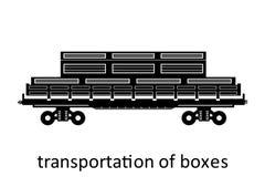 järnväg vagn av asktrans. med namn Last fraktar speditiontransport Sikten för vektorillustrationsidan isolerade royaltyfri illustrationer