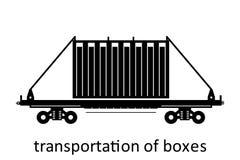 järnväg vagn av asktrans. med namn Last fraktar speditiontransport Sikten för vektorillustrationsidan isolerade stock illustrationer