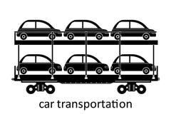 järnväg vagn av biltrans. med namn Last fraktar speditiontransport Sikten för vektorillustrationsidan isolerade stock illustrationer