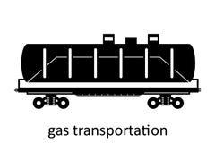 järnväg vagn av gastrans. med namn Last fraktar speditiontransport Sikten för vektorillustrationsidan isolerade royaltyfri illustrationer