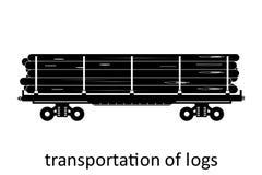 järnväg vagn av journaltrans. med namn Last fraktar speditiontransport Sikten för vektorillustrationsidan isolerade stock illustrationer
