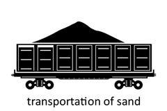 järnväg vagn av sandtrans. med namn Last fraktar speditiontransport Sikten för vektorillustrationsidan isolerade vektor illustrationer