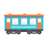 Järnväg vagn för passagerarebil, järnväg trans. Färgrik tecknad filmillustration vektor illustrationer
