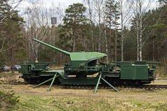 järnväg vapen TM-1-180 för 180-mm Arkivfoton