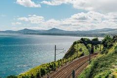 Järnväg vid havet Fotografering för Bildbyråer