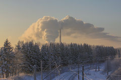 Järnväg vinterdag Royaltyfri Fotografi