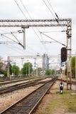 Järnvägar av Zagreb den huvudsakliga stationen - Kroatien. Byggnader i Fotografering för Bildbyråer