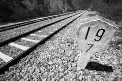 Järnvägar hårdnar signposten Arkivfoto