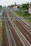 Järnvägar i bolognaen, i Italien Royaltyfria Bilder